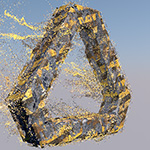 Cinema 4D X-Particles ロゴディゾルブ